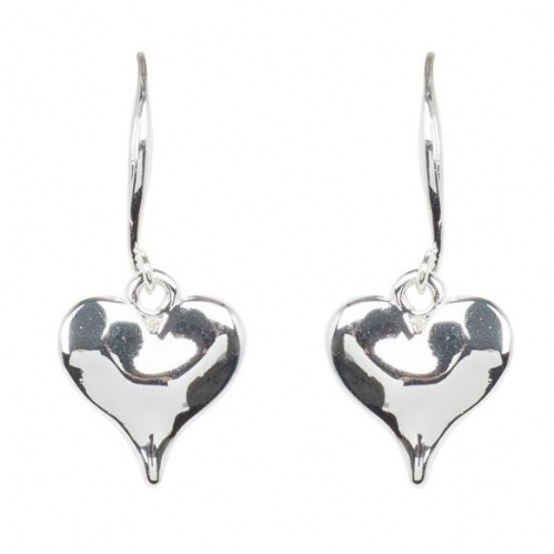 Bisoux Rodium Plated Simple Heart Drop Earrings